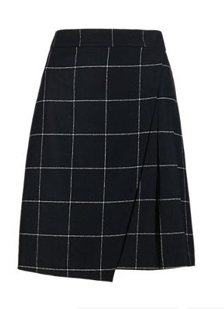 Buttonsafe™ Wool Blend Checked Kilt Mini Skirt