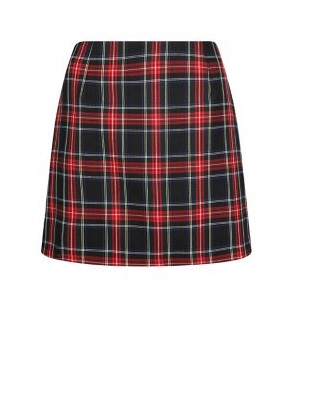 Black Tartan Check Mini Skirt