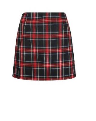 Black Tartan Check Mini Skirt