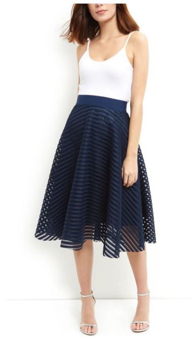 Navy Mesh Stripe Midi Skirt