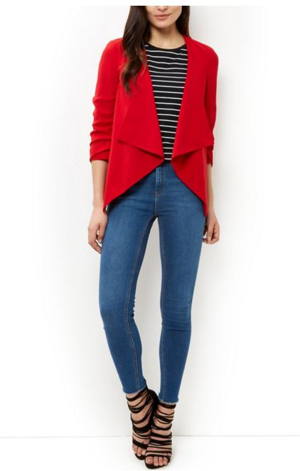 Red Ruched Sleeve Waterfall Blazer