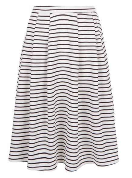 White Stripe Balloon Midi Skirt