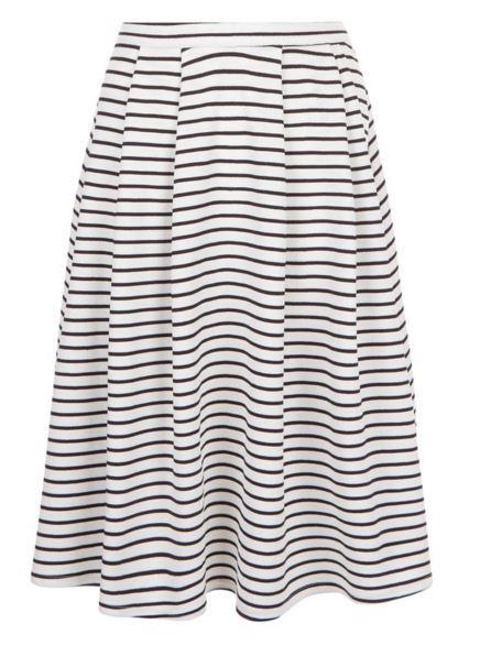 White Stripe Balloon Midi Skirt